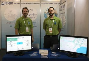 Tom Sawyer staff in the booth demonstrating MBSE diagram automation in Australia.