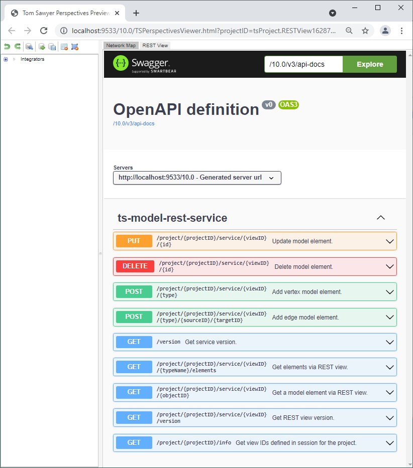 In Perspectives 10.0, a REST integrator supports schema extraction for a Swagger endpoint that uses the OpenAPI Specification (OAS).
